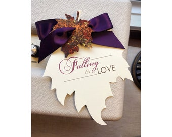Falling in Love Save the Date, Fall Wedding Save the Date, Autumn Wedding Save the Date, Purple Save the Date, Rustic Wedding Save the Date