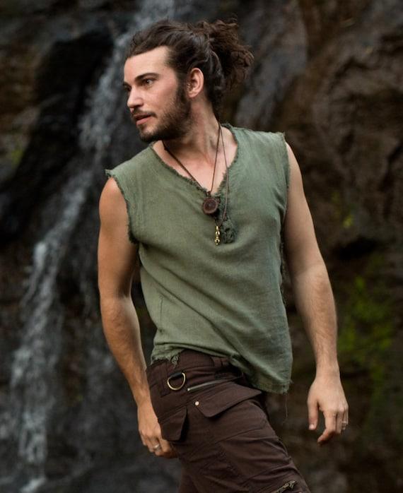 Handmade Green Mens Neo Gypsy Sleeveless Earthy Top Shirt, Tank brown Tribal Jungle Open V Neck Festival Rave AJJAYA Nomadic Primitive