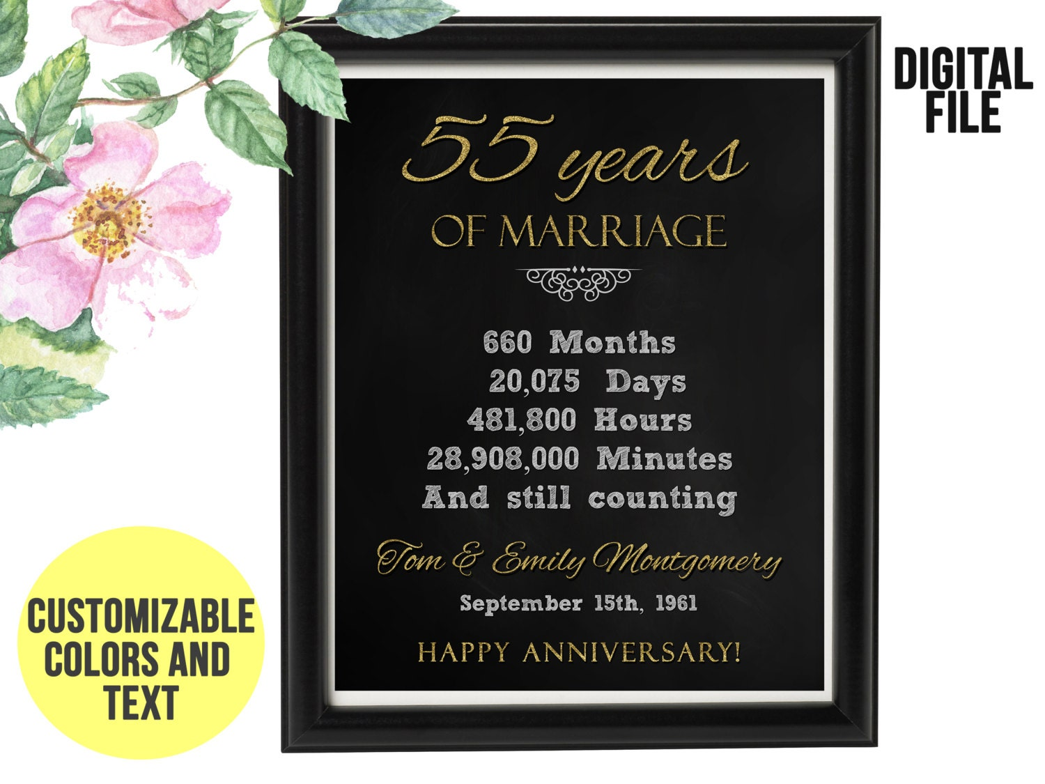 Wedding Anniversary Gifts By Year Uk: 55 Year Wedding Anniversary Gift 55th Anniversary PRINTABLE