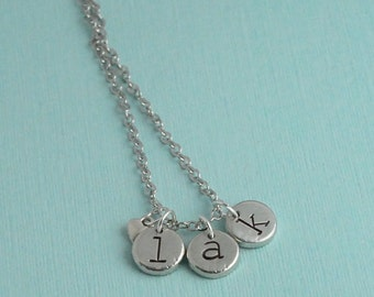 Personalized Pewter Initial Charm Necklace, Personalized Initial Jewelry, stamped letter necklace