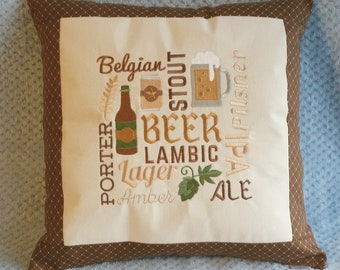Embroidered Ale / Beer Pillow