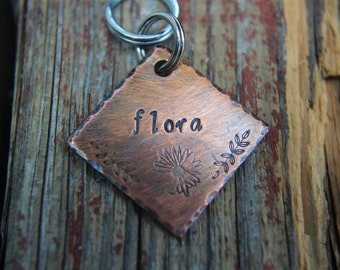 Custom Dog ID Tag, Flora, Hand Stamped Dog Tag, Tag with Daisy