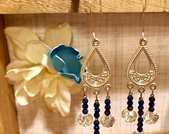 Lapis Lazuli and Lead Crystal on Sterling Silver Chandeliers