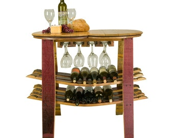 Wine Barrel Table Rack with Glass Holder