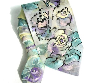 Hand Painted Silk Tie. Floral Tie. Handmade Grooms Wedding Tie. Anniversary Birthday Gift for Him. Wearable Art Silk Painting. READY to SHIP