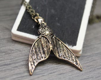 Mermaid Tail Necklace, Mermaid Necklace, Tail Necklace, Bronze Necklace, Chain Necklace, 22 inch necklace