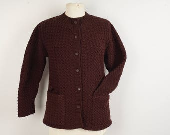Hand Knit Reddish Brown Heavy Cardigan Medium 36 bust 60s 70s Vintage Button Up Sweater with Pockets