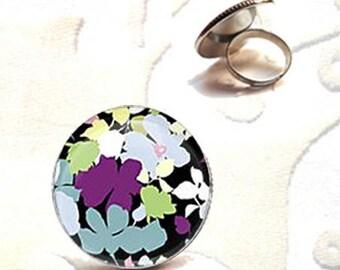 Winter flower Adjustable ring silver