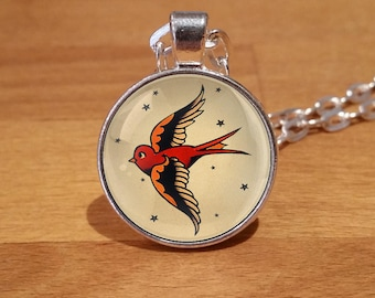 Sailor Jerry Necklace, swallow necklace, tattoo, Tattoo necklace, Tattoo pendant, Silver Plated necklace (51s)