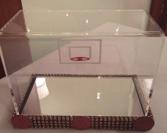 Basketball themed Shadow box baby keepsake shoe case baby Shoe case