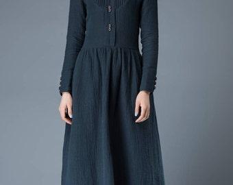 Linen dress, long linen dress, Womens dresse, blue dress, linen clothing, long sleeve dress, linen dress women, linen maxi dress C843