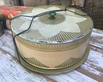 Vintage cake carrier/ 40's cake holder/ metal cake tin/ yellow and gold cake carrier/ shabby chic/ retro cake platter/ antique cake tin