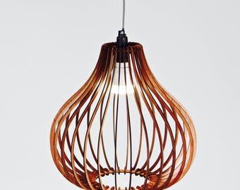 Wooden Lampshade, Hanging Pendant Light, Industrial, Minimalist, Handmade, Australian, Skeleton, Commission Piece, Ceiling Lamp, Natural