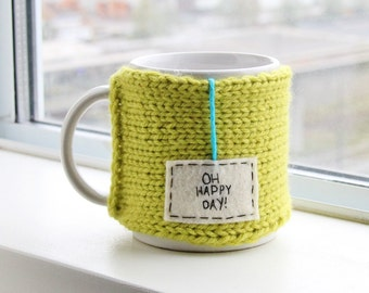 Onana Knits Coffee Travel Mug, Knit Cozy, Mug Cozy, Knit Coffee Cozy, Personalized Mug, Oh Happy Day, Womens Gift, Gift Mens, Tea Cosy