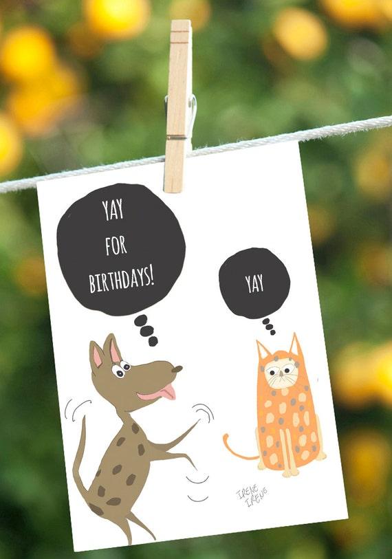 Funny Birthday Card Dog Cards Cat Cards Birthday Card For
