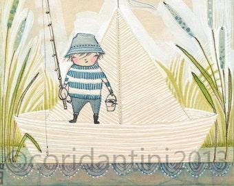 "Cori Dantini Boys Art Print - ""8 x 10"" Fishing Art Print - Boys Nursery Baby Room Decorating Ideas Archival and Limited edition"