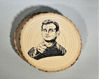 Bill Murray Natural Wood Coaster Set of 2