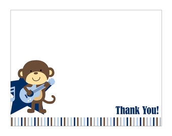 50 Rockstar Monkey Thank You Cards or Baby Shower Invitation or Birthday Invitation Cards (Printable file available)