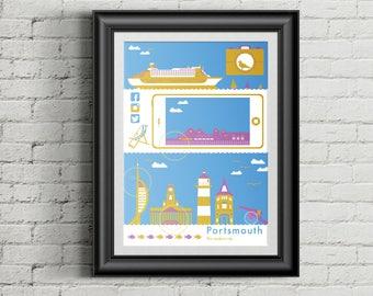 A2 Portsmouth Modern City Poster
