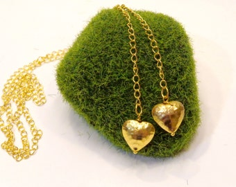 Hammered Gold Heart Lariat Necklace