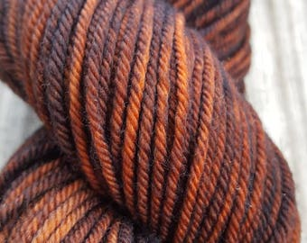 Hand-Dyed Worsted Superwash Merino Yarn - Coffee