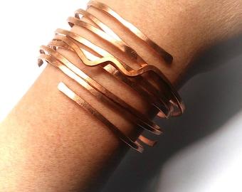 Copper Bracelet Set Natural Raw Copper Boho Bangles Hammered Stacking Bangles Gift For her FREE UK SHIPPING