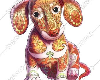 Coloring Pages for adults. Dachshund Dog. Colouring page for National Pet day greeting cards. Animal coloring book. Instant Download Print
