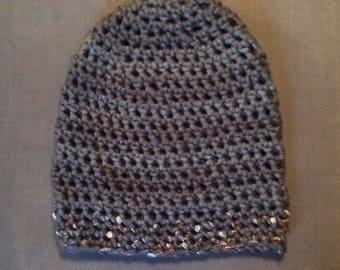 Crochet cap with Lurex edge Beanie Grey cap