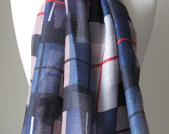 Blue plaid pattern voile Infinity Scarf - Long and light weight cotton scarf for spring, summer, and fall