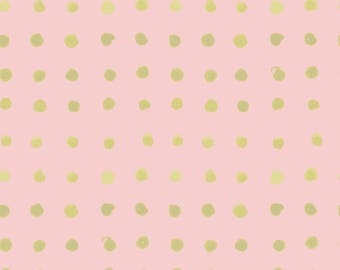ORGANIC Cotton Quilting Fabric Gold Shimmer Accent Spots from Monaluna Haiku 2 collection