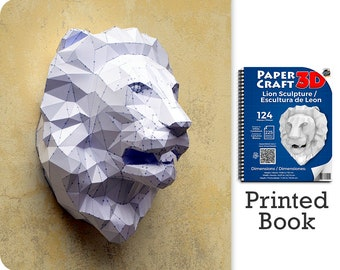 Lion Sculpture Papercraft Book. A ready to assemble book with pre-scored, pre-cut pieces