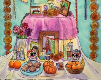 Digital Print of Watercolor Dia De Los Muertos Altar