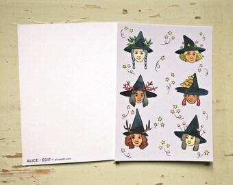 Witches - Postcard print - Original illustration