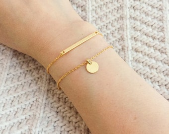 Dainty Gold Bar Bracelet / Gold Coin Bracelet / Gold Layering Bracelets / Thin Bar Bracelet / Coin Bracelet /Gift for Her / Everyday Jewelry