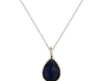 Blue corundum gemstone teardrop and sterling silver necklace, Delicate blue gem necklace, Dark blue gemstone pendant and dainty necklace