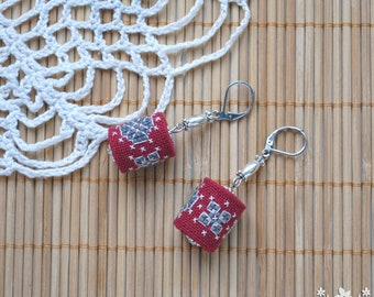 Embroidered earrings Boho jewelry Dangle earrings burgundy jewelry for women Boho chic earrings fabric jewelry Birthday gift for girlfriend