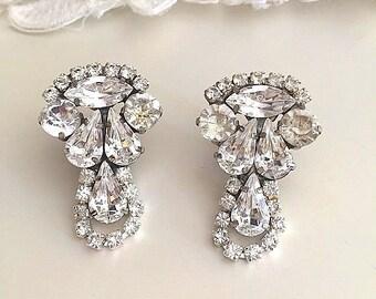 Bridal Crystal Earrings, Vintage Style crystal Earrings, Clear swarovski Clip On earrings, Wedding Crystal Chandelier Clip On earrings