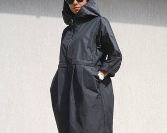 Black jacket for oversized women, waterproof party coat, hooded outerwear, black casual jacket, extravagant plus size winter coat