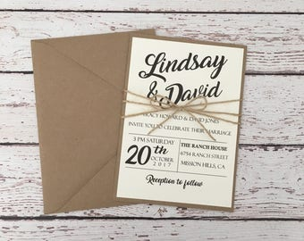 rustic wedding invitation,simple wedding invitation, rustic modern invitation, kraft invitation, twine invitation,country invitation