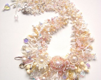 MADE TO ORDER - Wedding Garden Collar, Beadwoven Statement Necklace, Seed Bead Flowers, Pearls, Crystals and Fringe