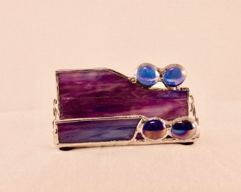 Stained Glass Business Card Holder - Business Card Holder - Office Decor - Purple Business Card Holder - Desk Accessory