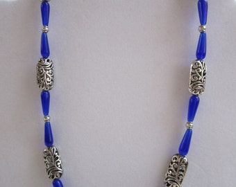 Blue Necklace with Blue Glass Teardrops and Silver Filigree Beads