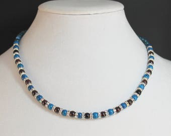 Blue and Red Gemstones with Crystal Rondelle Necklace