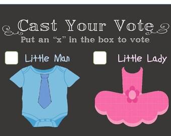 Printable Gender Reveal Vote for Gender - for Gender Reveal Party (Digital File)