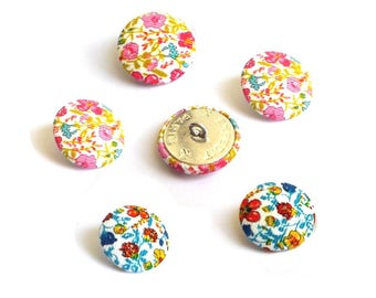 5 fabric buttons Liberty Helena's meadow velvet two color choices and 8 sizes in option