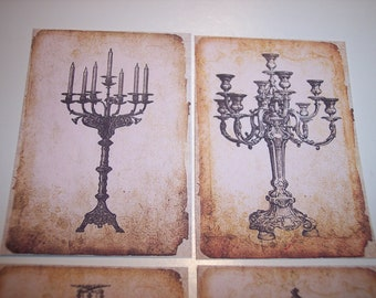 Vintage Lamps Journaling Tags set of 8