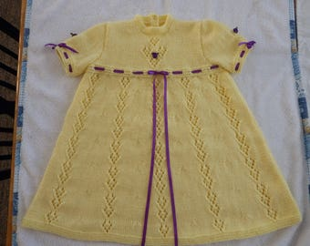 Hand knitted yellow baby girl-toddler dress