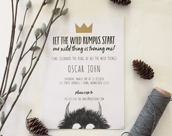 Where the Wild Things Are First Birthday Invitation