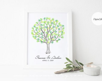 Fingerprint Tree Guestbook, Wedding tree, Baby shower gift, Birthday, family tree Thumbprint Guestbook Alternative, Digital file Printable
