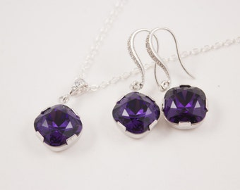 Bridesmaid Jewelry Set Deep Purple Crystal Necklace and Earrings Set in Silver